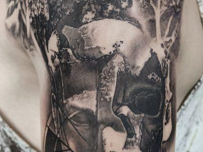 black and grey tattoo, realism tattoo, surrealism tattoo , smooth shading tattoo, navigantion and compass tattoo, navigating trough forest tattoo, nautical tattoo , skull and compass tattoo