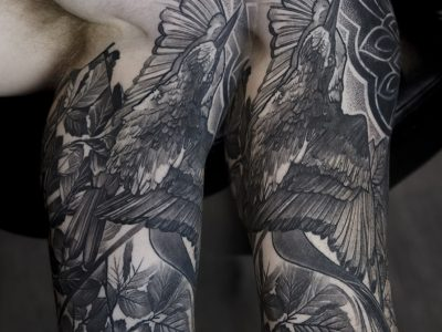 black and grey tattoo, realism tattoo, surrealism tattoo , smooth shading tattoo ,surrealism tattoo, crane bird flying, , wild life and leaves tattoo, illustrative bird tattoo, neotraditional bird tattoo