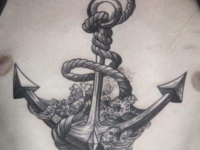 black and grey tattoo, realism tattoo,illustrative tattoo,old school tattoo, new school tattoo, surrealism tattoo , smooth shading tattoo, black work tattoo, line work anchor and waves tattoo, nautical tattoo