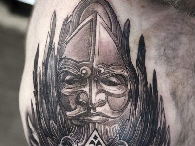 black and grey tattoo, realism tattoo, surrealism tattoo , smooth shading tattoo, greek mythology gods tattoo, god tattoo, biblical tattoo , religious tattoo, spreaded wings tattoo