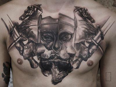 black and grey tattoo, realism tattoo, surrealism tattoo , smooth shading tattoo, greek mythology gods tattoo, realistic hades god of war tattoo, war horse and swords tattoo