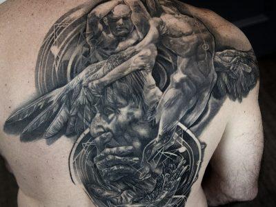 black and grey tattoo, realism tattoo, surrealism tattoo , smooth shading tattoo, icarus and daedalus tattoo, greek ancient mythology tattoo