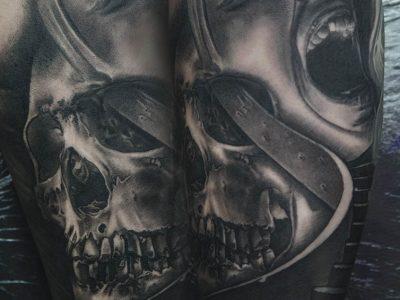 black and grey tattoo, realism tattoo, surrealism tattoo , smooth shading tattoo, realistic skull and screaming woman tattoo, skulls and stairs to heaven tattoo, thrills tattoo