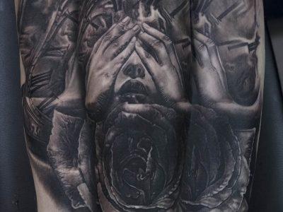 black and grey tattoo, realism tattoo, surrealism tattoo , smooth shading tattoo, time passing tattoo, time and beauty tattoo,beautiful woman and pocket watch tattoo, melting clock surrealistic tattoo, roses and beautiful woman realistic tattoo