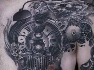 black and grey tattoo, realism tattoo, surrealism tattoo , smooth shading tattoo, train surrealistic tattoo, train and pocket watch tattoo, train tracks and pocket watch tattoo, time train tattoo, memory train tattoo, commemorative train tattoo