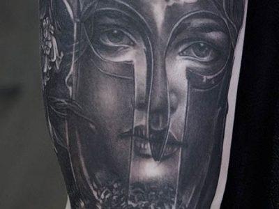 black and grey tattoo, realism tattoo, surrealism tattoo , smooth shading tattoo, athena and owl tattoo, greek mythology tattoo, mythological creatures, greek gods realistic tattoo