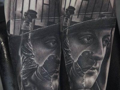 black and grey tattoo, realism tattoo, surrealism tattoo , smooth tattoo, portratit tattoo, Rocky realistic portrait tattoo , famous people portratit tattoo, vintage portrait tattoo, boxing tattoo, movie star tattoo