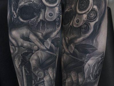 black and grey tattoo, realism tattoo, surrealism tattoo , smooth shading tattoo, guns and roses tattoo, skulls and guns realistic tattoo, realistic roses tattoo