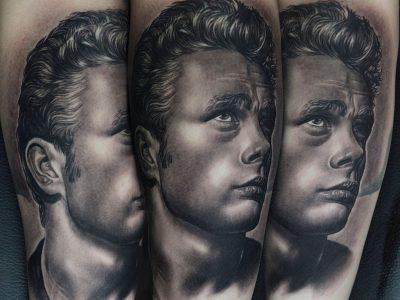 black and grey tattoo, realism tattoo, surrealism tattoo , smooth tattoo, portratit tattoo, James Dean realistic portrait tattoo , famous people portratit tattoo, vintage portrait tattoo