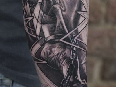 black and grey tattoo, realism tattoo, surrealism tattoo , smooth shading tattoo, weight on shoulder and responsability tattoo, realistic chain on foot imprisonment tattoo