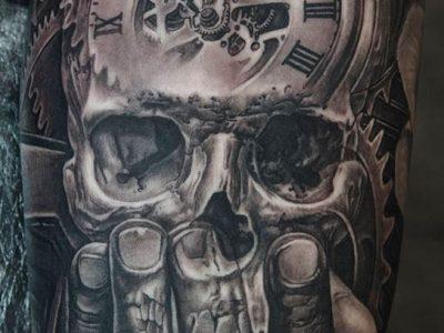 black and grey tattoo, realism tattoo, surrealism tattoo , smooth tattoo, skull tattoo, time piece tattoo, pocket watch tattoo, death romance tattoo , hourglass tattoo, time and skull tattoo