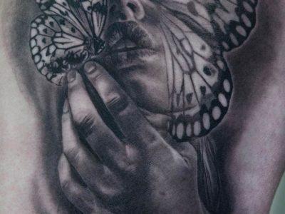 black and grey tattoo, realism tattoo, surrealism tattoo , smooth shading tattoo, lady and butterfly tattoo, butterfly tattoo, queen of butterflies tattoo, beautyful woman tattoo