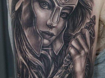 black and grey tattoo, realism tattoo, surrealism tattoo , smooth tattoo, warrior tattoo, athena tattoo, greek warrior tattoo, greek mythology tattoo