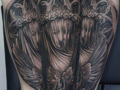 black and grey tattoo, realism tattoo, surrealism tattoo , smooth tattoo, heaven gates tattoo, futuristic angel, renaissance tattoo, angel tattoo, protective angel tattoo, church tattoo, angel in church tattoo, church arches tattoo, gothic arhitecture tattoo, angel wings tattoo, spread wings tattoo, statuesc angel tattoo