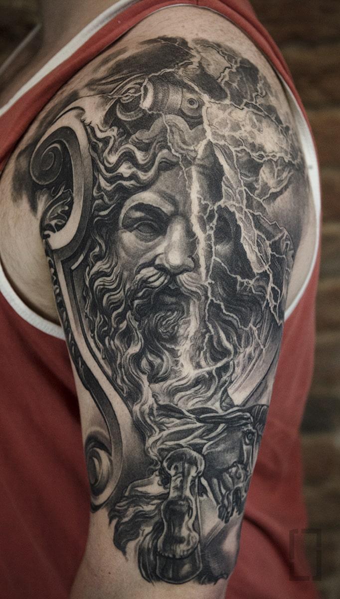 black and grey tattoo, realism tattoo, surrealism tattoo , smooth shading tattoo, greek mythology gods tattoo, god tattoo, zeus god tattoo, realistic statuesc mythology gods tattoo