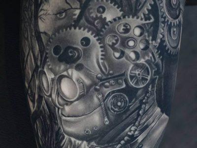 black and grey tattoo, realism tattoo, surrealism tattoo , smooth tattoo, storyteller tattoo, the tin man wizard of oz tattoo, forest tattoo, ilustrative tattoo