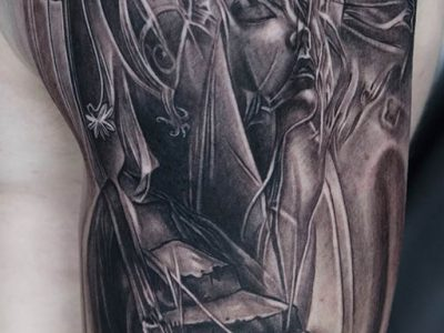 black and grey tattoo, realism tattoo, surrealism tattoo , smooth tattoo, heaven gates tattoo, futuristic angel, renaissance tattoo, angel tattoo, protective angel tattoo, stairs to heaven tattoo