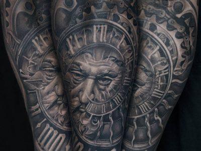 black and grey tattoo, realism tattoo, surrealism tattoo , smooth tattoo, father of time tattoo, time master tattoo, time piece tattoo, wisdom of nature tattoo
