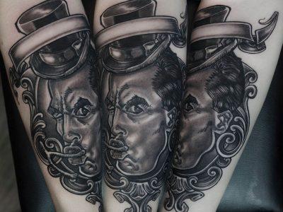 black and grey tattoo, realism tattoo, surrealism tattoo , smooth tattoo, circus tattoo, family caricature tattoo, traditional tattoo, neotraditional tattoo,ilustrative tattoo