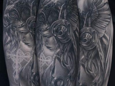 black and grey tattoo, realism tattoo, surrealism tattoo , smooth tattoo, futuristic angel, renaissance tattoo, angel tattoo, protective angel tattoo, warrior angel tattoo, angel portrait