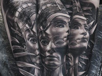 black and grey tattoo, realism tattoo, surrealism tattoo , smooth tattoo, egypt mythology , nefertiti tattoo, piramids tattoo, egypt gods tattoo