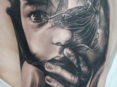 black and grey tattoo, realism tattoo, surrealism tattoo , smooth tattoo, ship tattoo, pirate ship tattoo, sea life tattoo, sailor tattoo, sea portrait tattoo