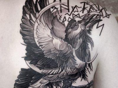 black and grey tattoo, realism tattoo, surrealism tattoo , smooth shading tattoo ,surrealism tattoo, viking raven flying tattoo , viking runes tattoo, illustrative raven tattoo, neotraditional raven tattoo