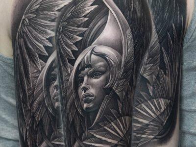 black and grey tattoo, realism tattoo, surrealism tattoo , futuristic angel, renaissance tattoo, angel tattoo, protective angel tattoo,biblical angel tattoo, religious tattoo