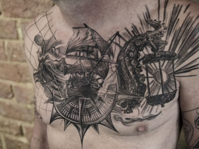 Black and grey tattoo, best black and grey tattoo, smooth shading tattoo, ship realistic tattoo, galleon ship tattoo, compass and ship tattoo, marine surrealistic tattoo, navigation realism tattoo