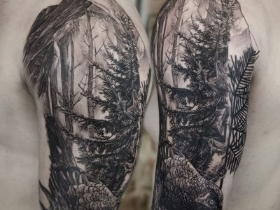 Black and grey tattoo, best black and grey tattoo, smooth shading tattoo, illustrative forest and mountain tattoo, realism nature tattoo, wild bird and forest tattoo, neotraditional mountain tattoo