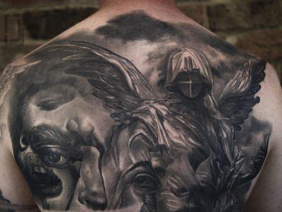 Black and grey tattoo,best black and grey tattoo, realistic tattoo, realism tattoo, angel tattoo, apocalyptic tattoo, heaven and hell tattoo, renaissance tattoo, portrait tattoo, smooth shading tattoo, angel and deamon fighting tattoo