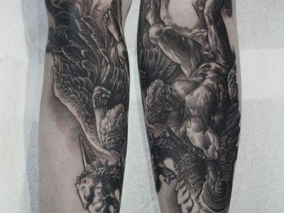 Black and grey tattoo,best black and grey tattoo, realistic tattoo, realism tattoo, fallen angel tattoo, apocalyptic tattoo, heaven and hell tattoo, renaissance tattoo, , smooth shading tattoo, religious tattoo