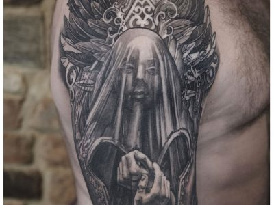 Black and grey tattoo,best black and grey tattoo, realistic tattoo, realism tattoo, angel tattoo, apocalyptic tattoo, heaven and hell tattoo, renaissance tattoo, , smooth shading tattoo, religious tattoo, angel warrior tattoo, god realism tattoo
