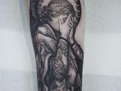 Black and grey tattoo,best black and grey tattoo, realism tattoo,priest praying tattoo, angel tattoo, apocalyptic tattoo, heaven and hell tattoo, renaissance tattoo, , smooth shading tattoo, religious tattoo, church arches tattoo, angel in church tattoo, saint tattoo