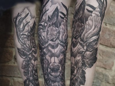 Black and grey tattoo,best black and grey tattoo, realistic tattoo, realism tattoo, reindeer tattoo, neotraditional reindeer tattoo, illustrative reindeer tattoo, black and grey reindeer tattoo, surrealistic reindeer tattoo, hand drawing tattoo, forest and reindeer tattoo