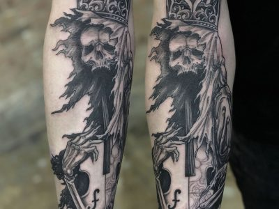 Black and grey tattoo,best black and grey tattoo, , neotraditional grim reaper tattoo, illustrative grim reaperr tattoo, black and grey grim reaper tattoo, surrealistic grim reaper tattoo, hand drawing grim reaper and music tattoo