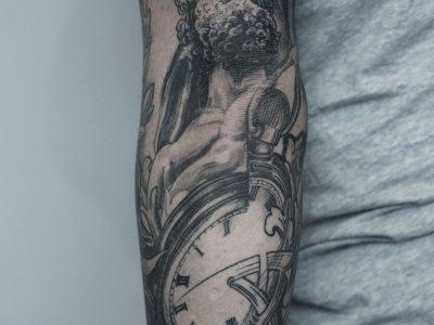 Black and grey tattoo best black and grey tattoo, , commemorative tattoo, illustrative father time tattoo, black and grey pocket watch tattoo, surrealistic pocket watch tattoo, realism rennaisance pocket watch tattoo