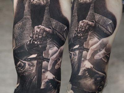 Black and grey tattoo, best black and grey tattoo, smooth shading tattoo, knights templar realistic tattoo, falling king realistic tattoo, king realistic tattoo, warrior realistic tattoo