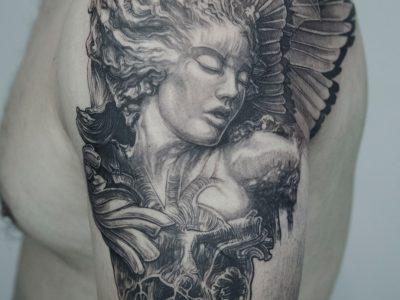 #realism tattoo #surrealism tattoo #portrait tattoo #angel tattoo #renaissance tattoo #religious tattoo #female angel tattoo #guardian angel #wings tattoo #sleeve tattoo #woman tattoo