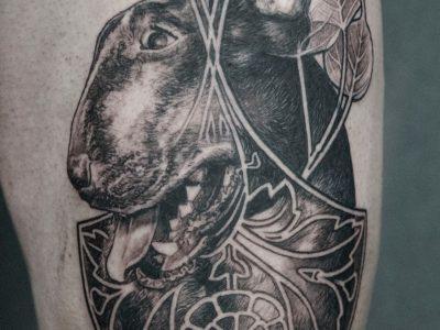 Black and grey tattoo, best black and grey tattoo, smooth shading tattoo, dog portrait tattoo, wild nature tattoo, animal portrait tattoo, wild life tattoo, illustrative realism tattoo, surrealistic tattoo