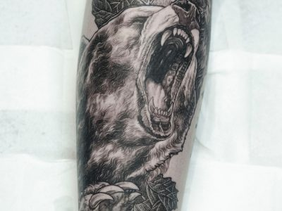Black and grey tattoo, best black and grey tattoo, smooth shading tattoo, illustrative forest and mountain tattoo, realism nature tattoo, bear and forest tattoo, neotraditional bear tattoo, custom art, hand drawing, unique tattoo, calf tattoo, leg sleeve tattoo