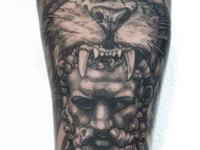 Black and grey tattoo, best black and grey tattoo, smooth shading tattoo, Hercules and lion tattoo, surrealism tattoo, forearm tattoo, sleeve tattoo, greek mythology tattoo , custom tattoo, hand drawing tattoo,
