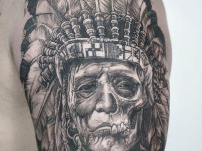 Black and grey tattoo, best black and grey tattoo, smooth shading tattoo, native american tattoo, neo traditional tattoo, surrealism tattoo, upper arm tattoo, shoulder tattoo, sleeve tattoo, leaves tattoo, indian tattoo.