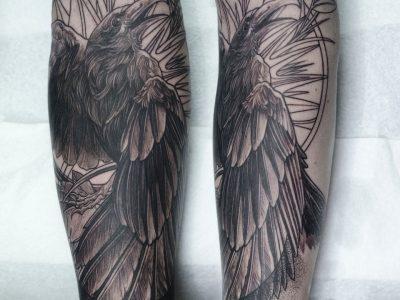 Black and grey tattoo,best black and grey tattoo, realistic tattoo, realism tattoo, raven tattoo, wild nature tattoo, mythology tattooo, wild animals tattoo, portrait tattoo, smooth shading tattoo, surrealism tattoo, forearm tattoo, bird tattoo , illustrative tattoo