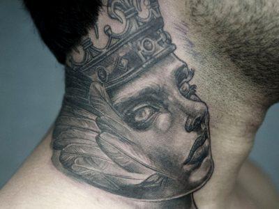 Black and grey tattoo,best black and grey tattoo, realistic tattoo, realism tattoo, queen tattoo, , mythology tattooo, crown tattoo, portrait tattoo, smooth shading tattoo, surrealism tattoo, neck tattoo, illustrative tattoo, beautiful woman tattoo, fantasy tattoo