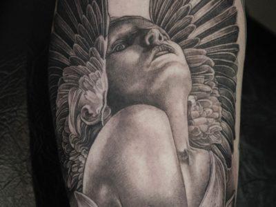 Black and grey tattoo,best black and grey tattoo, realistic tattoo, realism tattoo, fallen angel tattoo, apocalyptic tattoo, heaven and hell tattoo, renaissance tattoo, , smooth shading tattoo, religious tattoo, angel tattoo, biblical tattoo, female angel tattoo , innocent angel tattoo