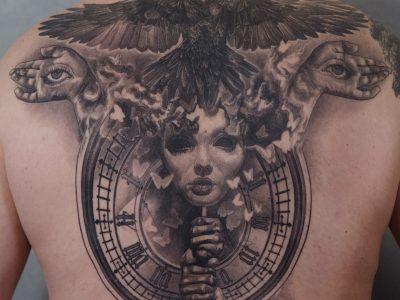 Full back tattoo-Raven tattoo-Time piece tattoo-Butterfly tattoo-wild life tattoo