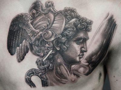 Black and grey tattoo best black and grey tattoo smooth shading tattoo Perseus tattoo greek mythology tattoo