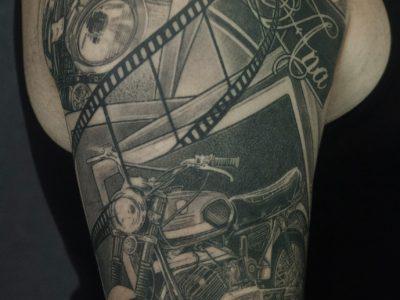 Black and grey tattoo,best black and grey tattoo, motorcycle tattoo, commemorative tattoo, photography tattoo,, renaissance tattoo, , smooth shading tattoo, bike tattoo, illustrative tattoo, dot work tattoo, lines and dots tattoo, black work tattoo, realism tattoo, surrealism tattoo, unique design tattoo, custom art tattoo
