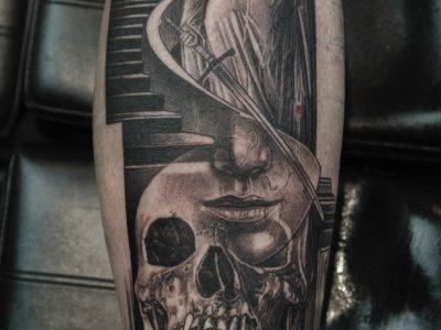 Black and grey tattoo,best black and grey tattoo, skull tattoo, commemorative tattoo, photography tattoo,, renaissance tattoo, , smooth shading tattoo, maiden tattoo, illustrative tattoo, dot work tattoo, lines and dots tattoo, black work tattoo, realism tattoo, surrealism tattoo, unique design tattoo, custom art tattoo, skull and woman tattoo